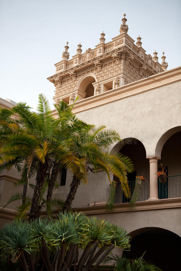 Turm EL Prado im Balboa-Park, San Diego stockfotografie