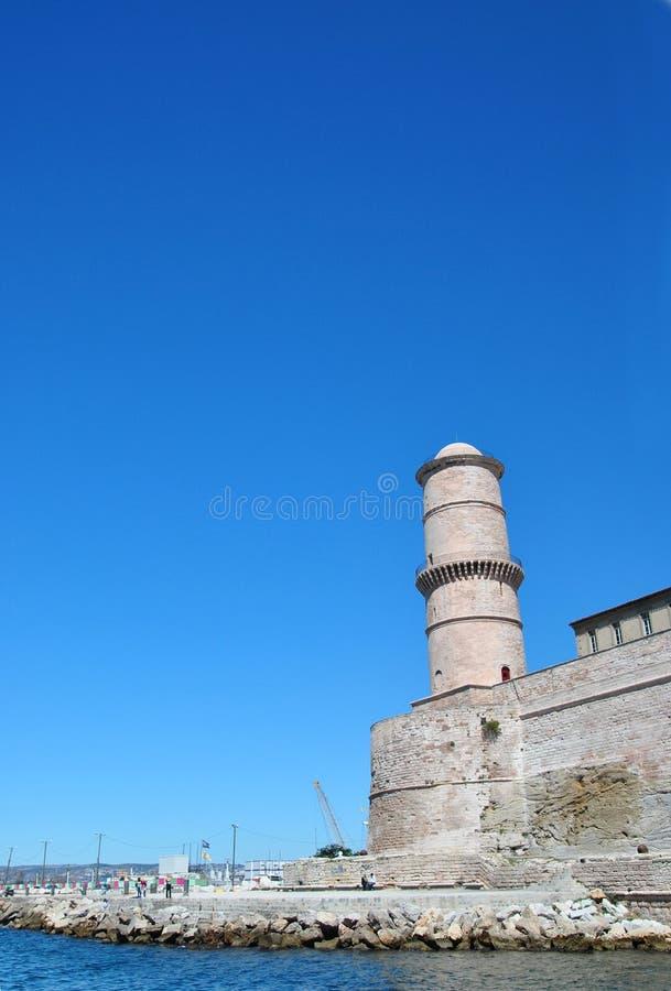 Turm-Festungs-Heiliges - Jean im alten Hafen von Marseille, Frankreich lizenzfreies stockbild