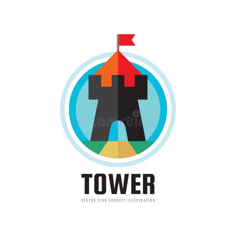 Turm - Konzeptlogoschablonen-Vektorillustration in der flachen Art Schloss mit der kreativen roten Fahne unterzeichnen herein Kre vektor abbildung