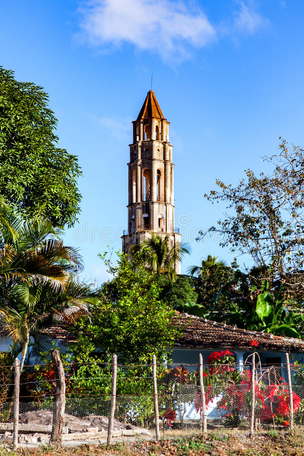 Turm Manaca Iznaga in Valle de Los Ingenios, Trinidad, Kuba: stockfotografie