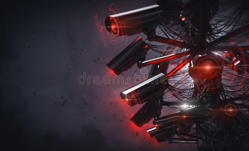 Turm oder Pylon mit vielen Fernsehkameras, die Menschen in der Nähe anschauen, Autoplatten usw. Einfügter Kopierraum Zukunft mit lizenzfreie abbildung