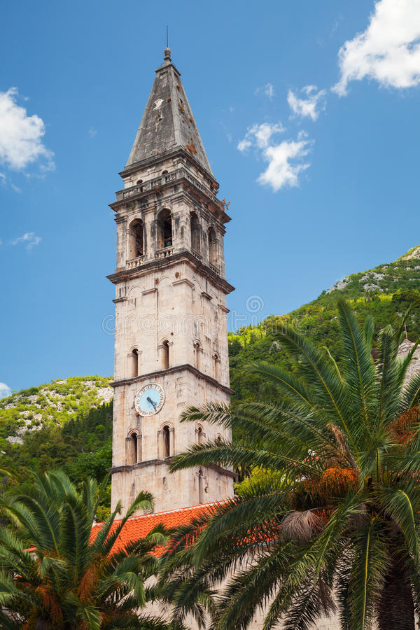 Turm St. Nicholas Church in Perast, Montenegro stockbild