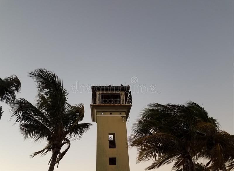 Turm und Palmen im La Guancha in Ponce, Puerto Rico lizenzfreie stockfotos
