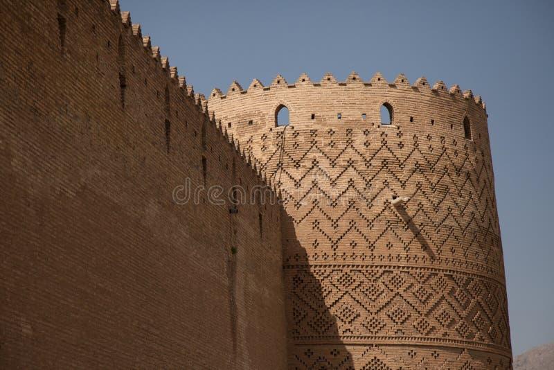 Turm und Wand, Shiraz, der Iran stockfotos