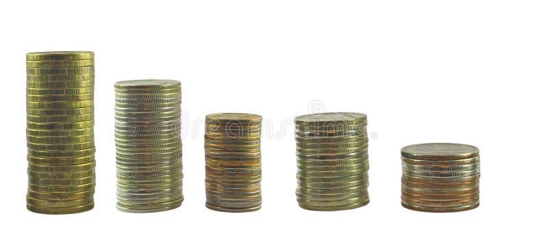 Turm von den Münzen eingestellt stockbild