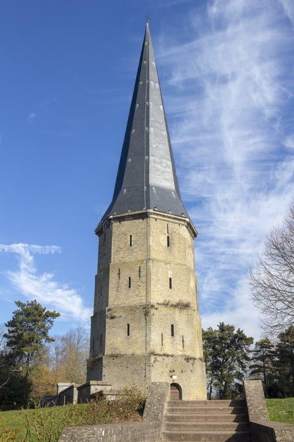 Turm von Heiliges Winoc-Abtei, Bergues, Nord-Pasde Calais, Frankreich lizenzfreies stockbild