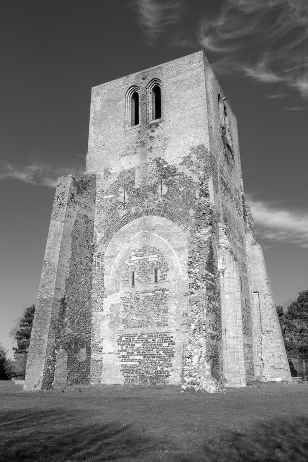Turm von Heiliges Winoc-Abtei, Bergues, Nord-Pasde Calais, Frankreich stockbilder