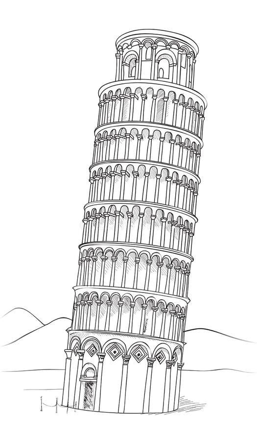 turm von pisa hand gezeichnete illustration lehnender