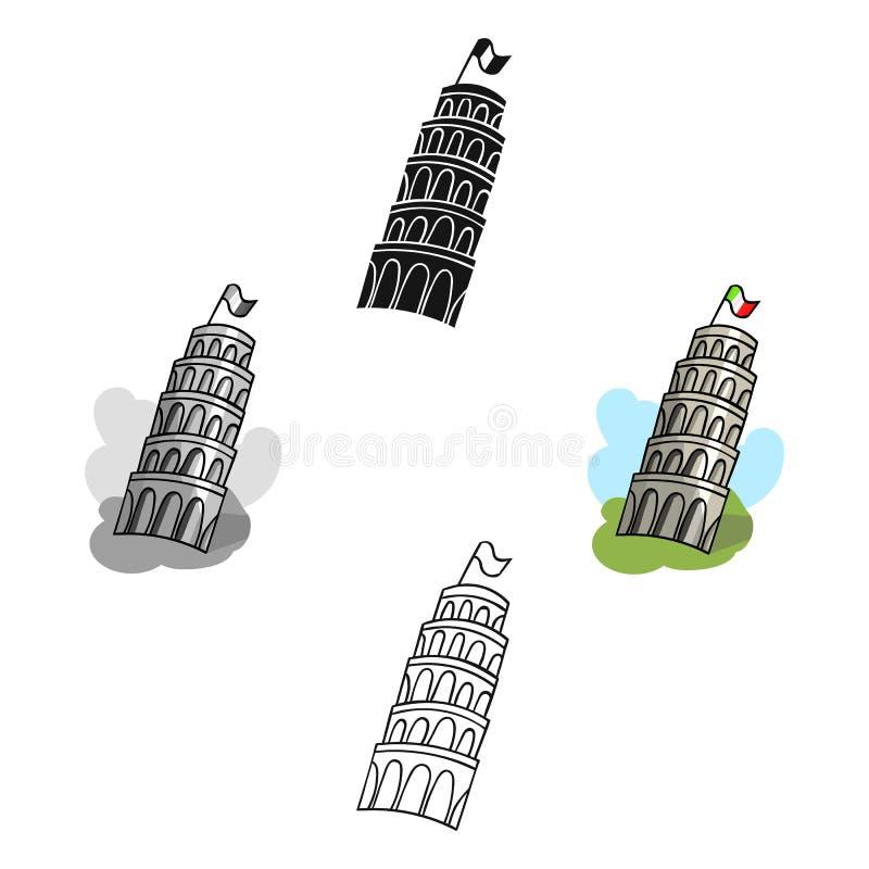 Turm von Pisa in Italien-Ikone in der Karikatur, schwarze Art lokalisiert auf wei?em Hintergrund Italien-Landsymbol-Vorratvektor lizenzfreie abbildung