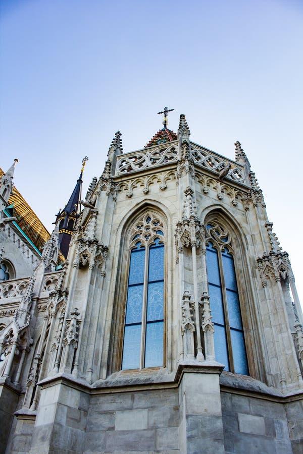 Turm von s-templom ¡ tyà ¡ Kirche Mà St. Matthias lizenzfreies stockbild