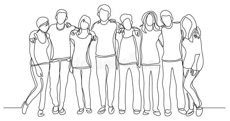 Turma da escola secundária dos amigos que estão junto - um a lápis desenho ilustração do vetor