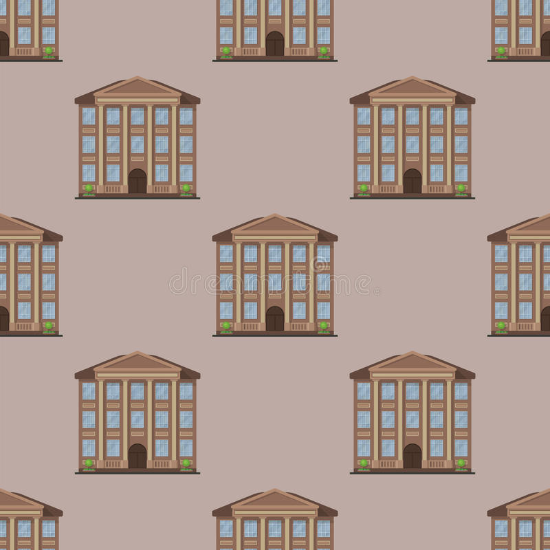 Turmbüroarchitektur der Stadtgebäude Musterhausgeschäftswohnungsausgangsfassadenvektor der modernen nahtloser stock abbildung