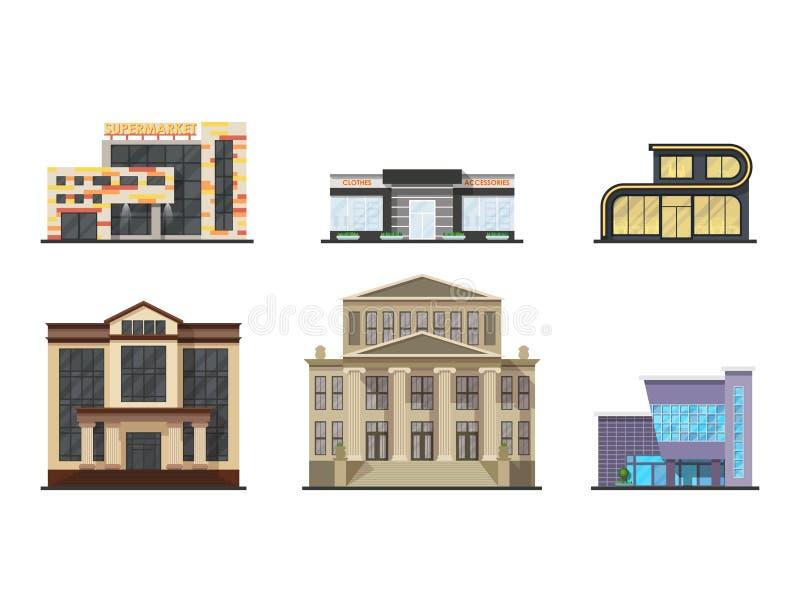 Turmbüroarchitekturhausgeschäftswohnungsausgangsfassadenvektorillustration der Stadtgebäude moderne lizenzfreie abbildung