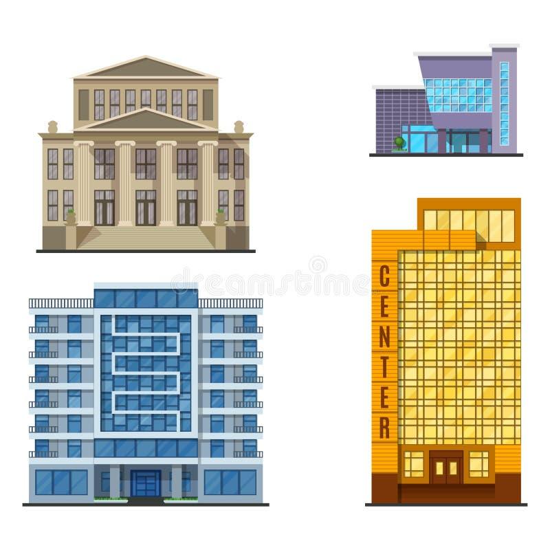 Turmbüroarchitekturhausgeschäftswohnungsausgangsfassadenvektorillustration der Stadtgebäude moderne vektor abbildung