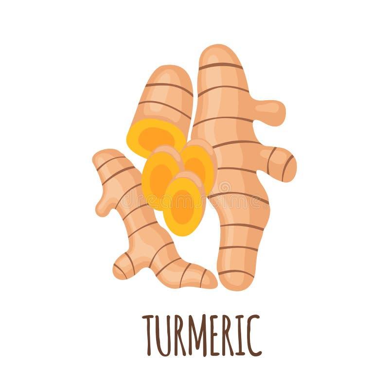 Turmeric εικονίδιο στο επίπεδο ύφος που απομονώνεται στο λευκό διανυσματική απεικόνιση