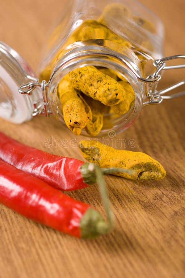 Turmeric And Chili Pepper Royalty Free Stock Photos