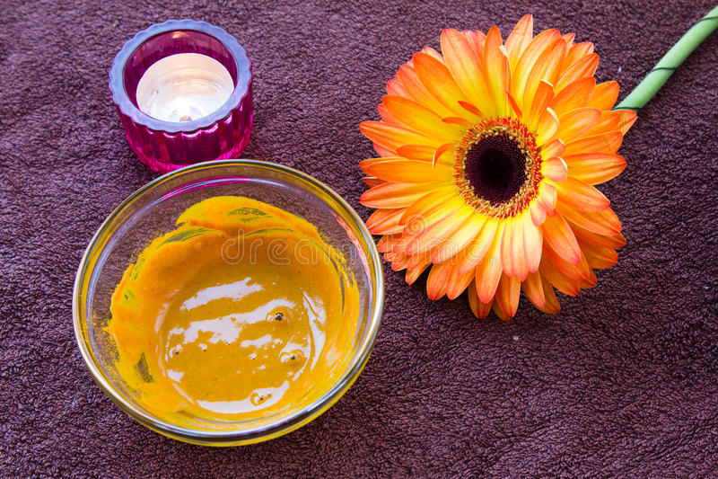 Turmeric face mask set stock image