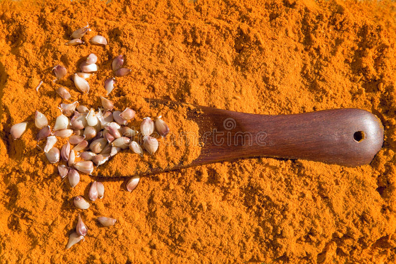 Download Turmeric  With  Garlic And Spoon Stock Photo - Image: 23462452