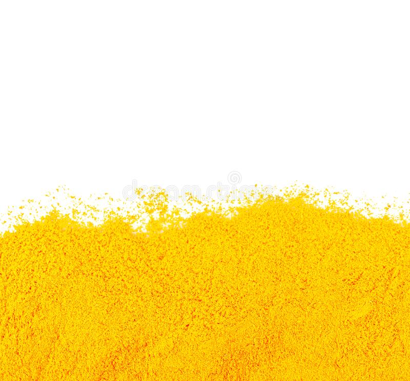 Turmeric powder is a medicinal plant. Taste astringent, fragrant Is an herb that can be used as a medicine on white royalty free stock photo