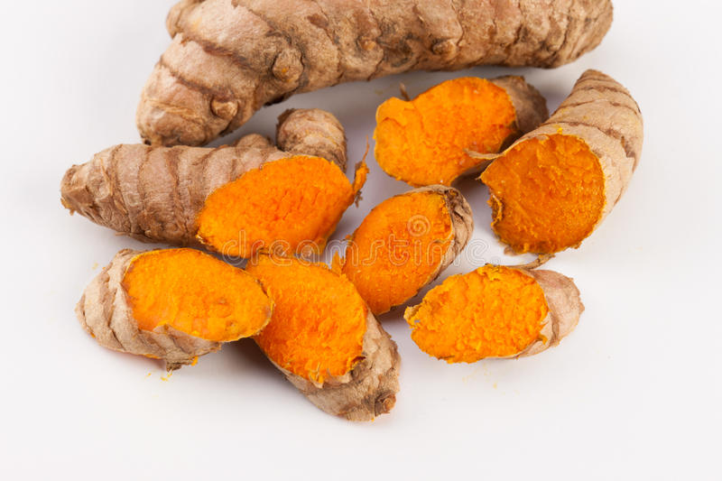 Turmeric Roots Isolated On White Background Stock Photo ...