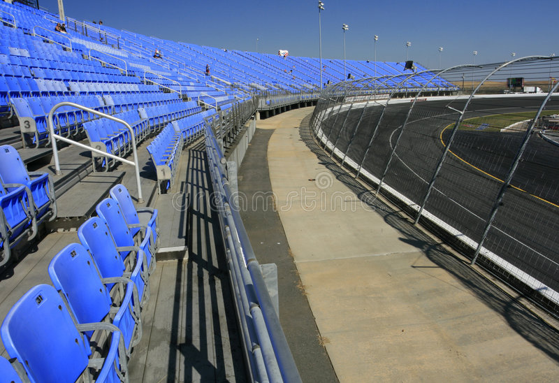 Turn 3. A front row view of turn #3 as it flows into turn #4 at Lowes Motor Speedway in Concord, NC royalty free stock image