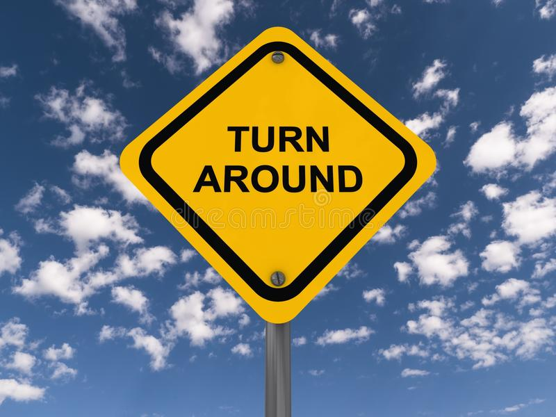 Turn around sign. A traffic sign with the text Turn around stock image