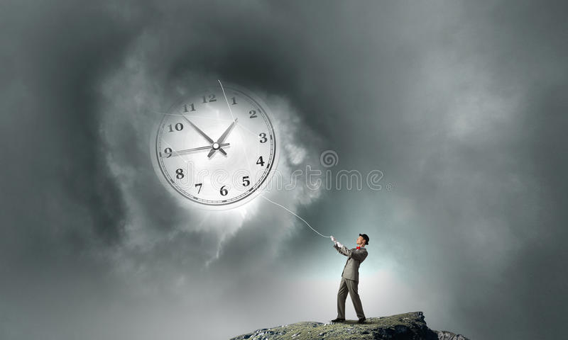 Turn back time stock image