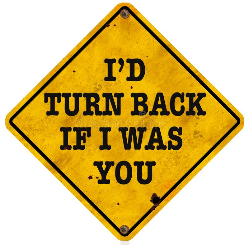 Turn Back Wrong Way Sign Funny Fun Vintage royalty free stock images