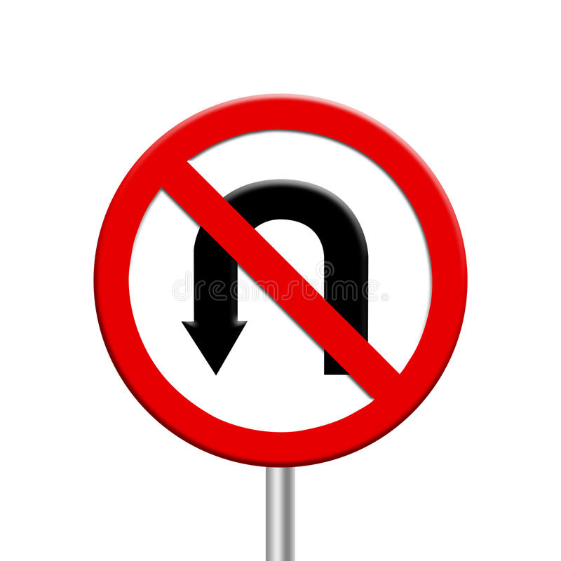 Turn ban - road sign. On white background vector illustration