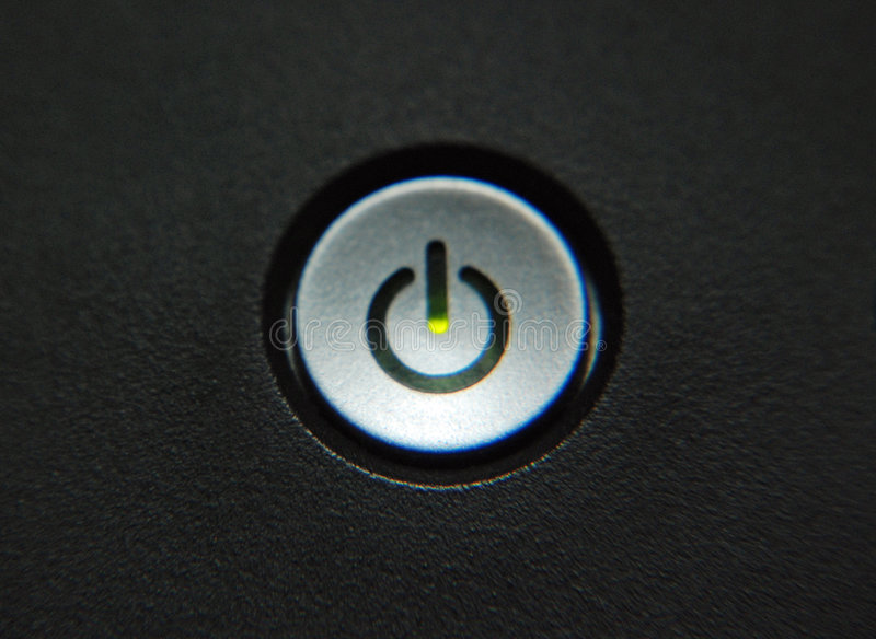Turn on button. View of an universal turn on symbol stock photo