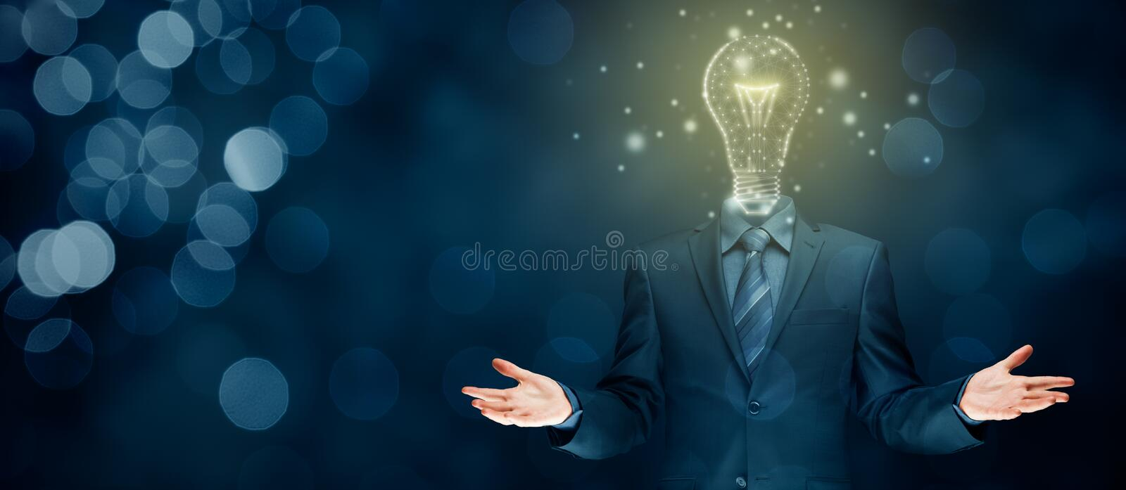 Turn on creativity, idea and intelligence concepts stock photos
