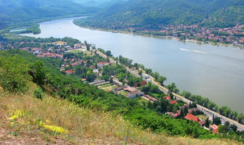Turn of Danube river, top view from Visegrad castle stock image