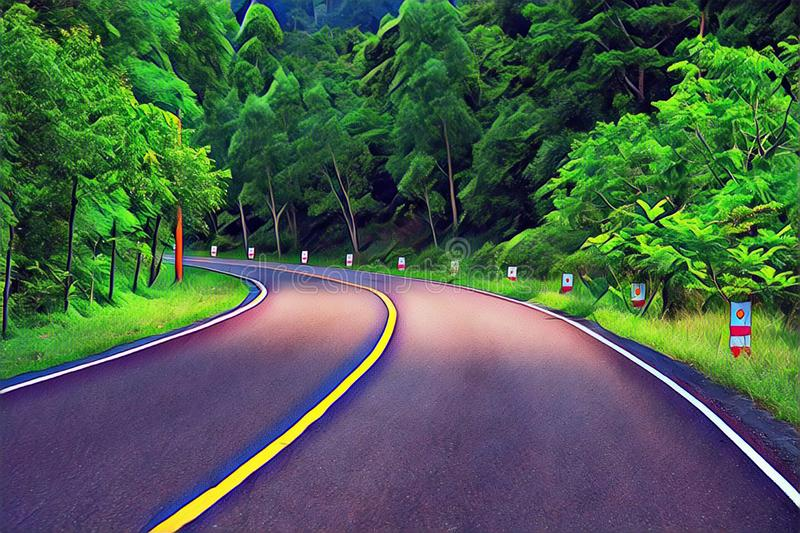 Turn on empty forest road. Summer travel landscape vibrant digital illustration. Highway and roadside. royalty free stock photos