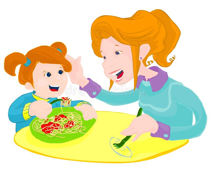 Turn and Hup!. A red hair mom is teaching her little girl how to eat spaghetti