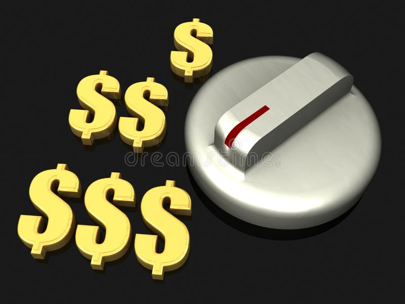 Download Turn Knob To More Dollar Earnings Stock Illustration - Illustration: 27569710