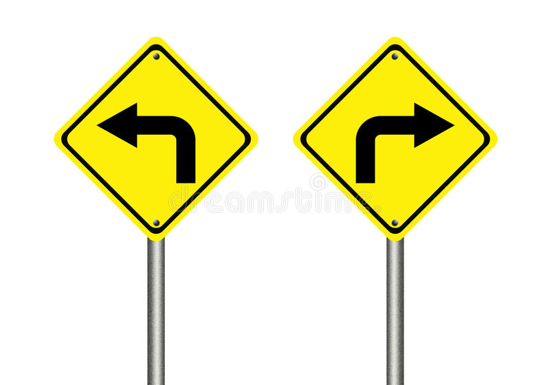 Turn left and right traffic sign vector illustration