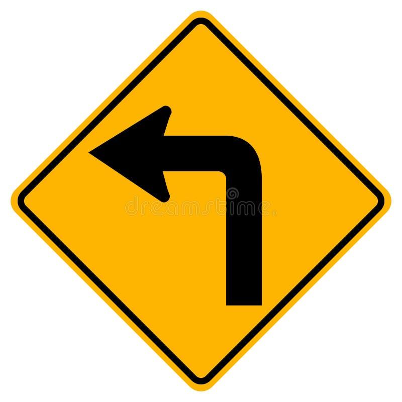 Turn Left Traffic Road Sign,Vector Illustration, Isolate On White Background Symbols, Label. EPS10 stock illustration