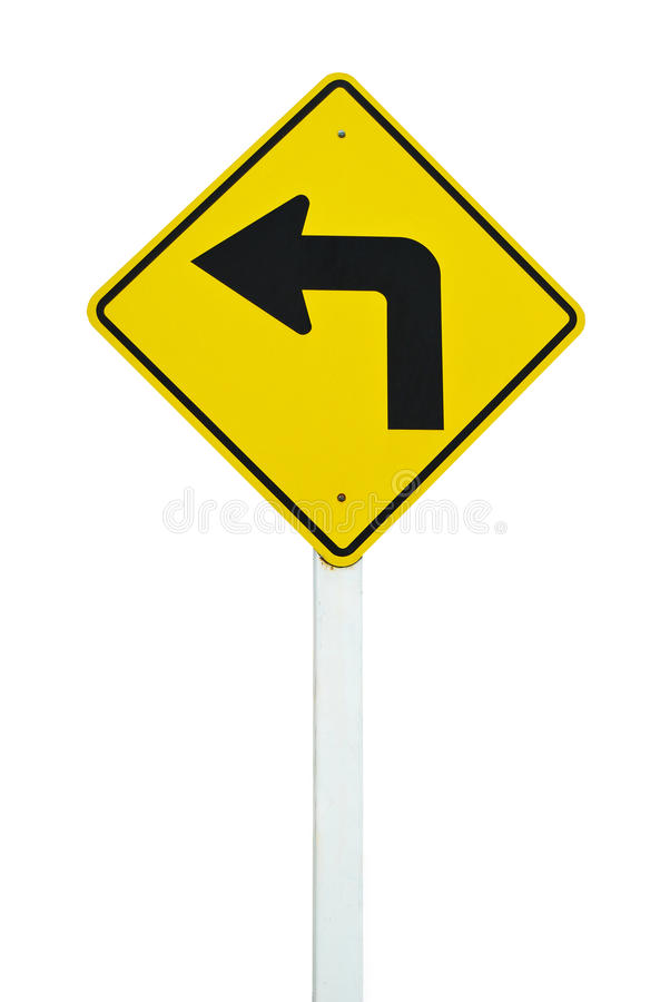 Turn left traffic sign isolated