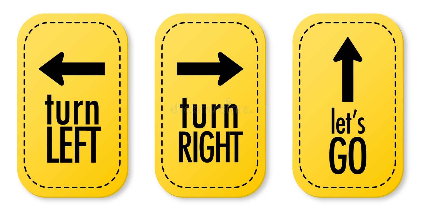 Turn left, Turn right and Let's go stickers stock illustration