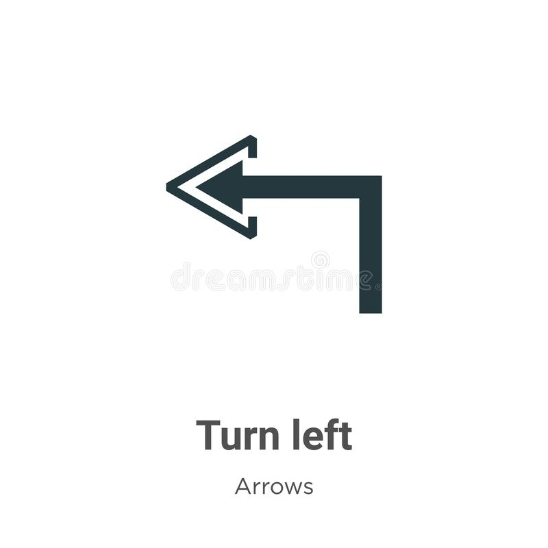 Turn left vector icon on white background. Flat vector turn left icon symbol sign from modern arrows collection for mobile concept stock illustration