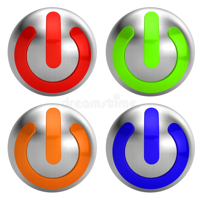 Download Turn On/Off Button stock illustration. Illustration of blue - 7292930