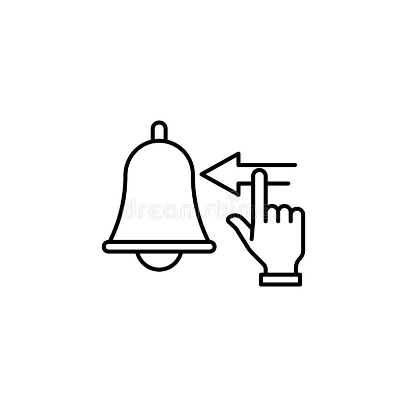 Turn off, inspiration, bell, hand icon. Element of concentration line icon stock illustration