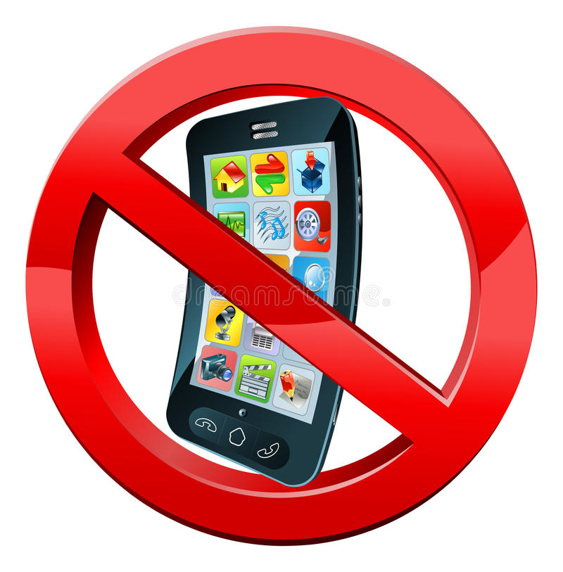 Turn off mobile phones sign. Of a black mobile phone crossed out in red circle stock illustration