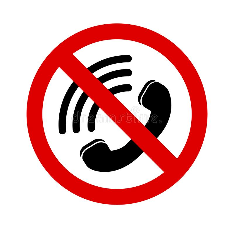Turn off the sound on the phone. Do not talk on the phone. hide the phone. Turn off the phone vector illustration