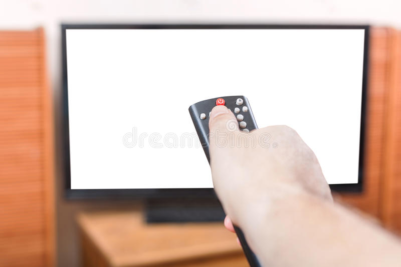 Turn off TV with cut out screen by remote control stock images