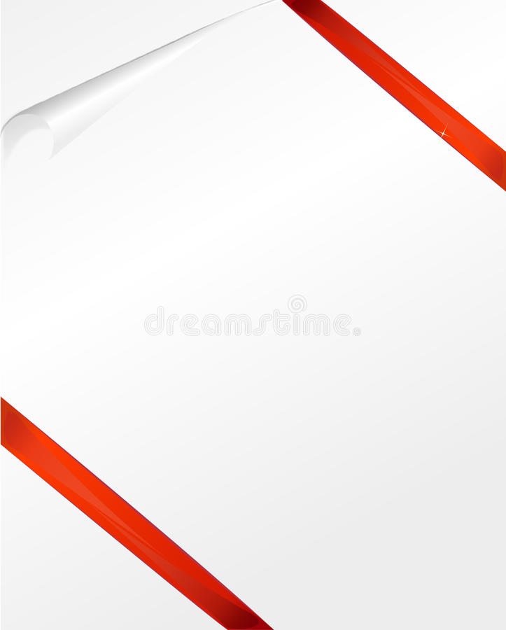 Turn the paper book stationery. Blank paper curling red ribbon stock illustration