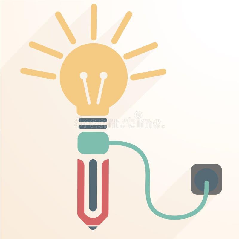 Turn on pen thought vector illustration