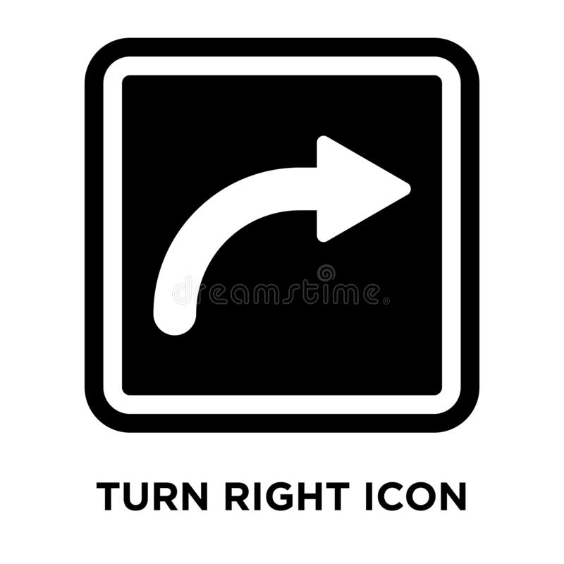 Turn Right Sign icon vector isolated on white background, logo c. Oncept of Turn Right Sign sign on transparent background, filled black symbol vector illustration