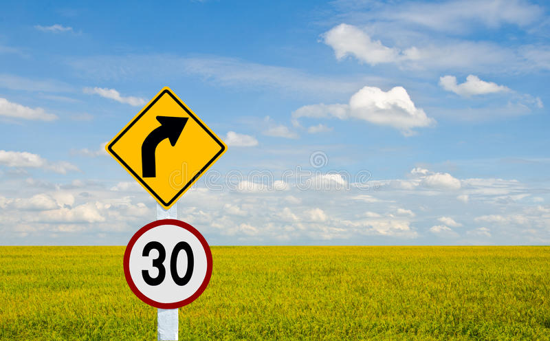 TURN RIGHT TRAFFIC SIGN. Traffic signs for speed limits up to 30 miles per hour royalty free stock photos