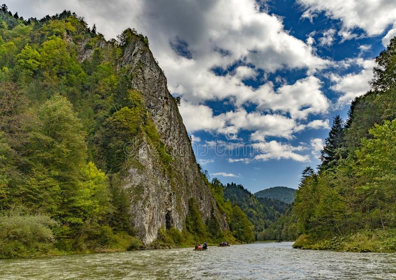 The turn of the river Dunajec. In Pieniny, Poland and Slovakia royalty free stock image
